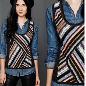 Free People Bold Colorful Striped Sweater Vest S